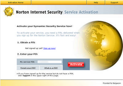 Enter your PIN code to activate Norton
