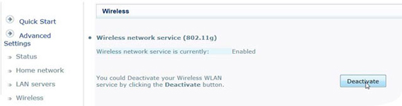 "Screen where you can change the Wi-Fi settings: ""Wireless network service is currently: Enabled (or Disabled)"""