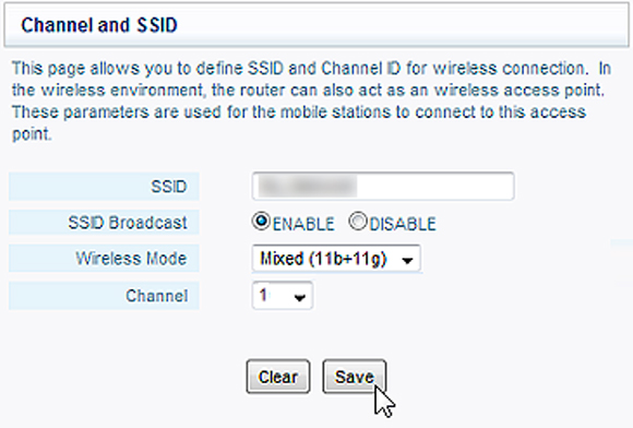 Configuration screen that allows you to choose the name of your Wi-Fi network