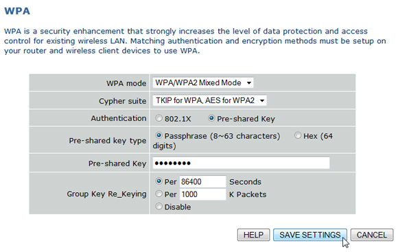 Configuration screen that allows you to choose a password for your Wi-Fi network
