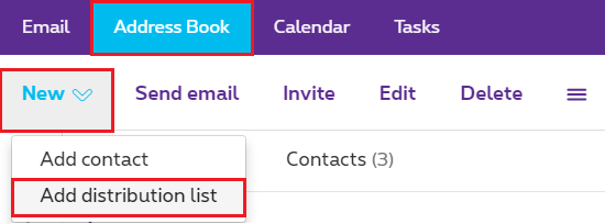 "Click ""Address Book"" > ""New"" > ""Add distribution list""."