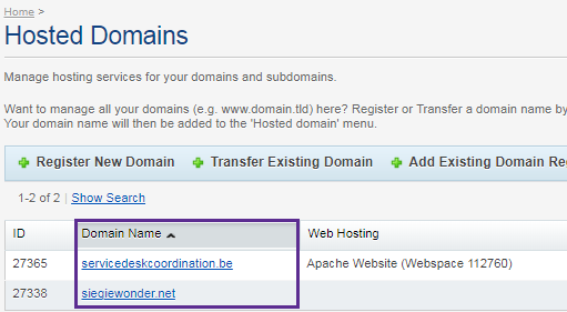 Click on the domain name you want to link.