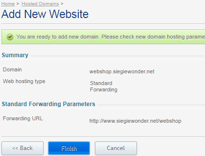 Overview of the subdomain that will be created