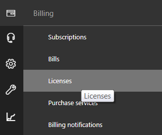 Click on Billing and then Licenses.