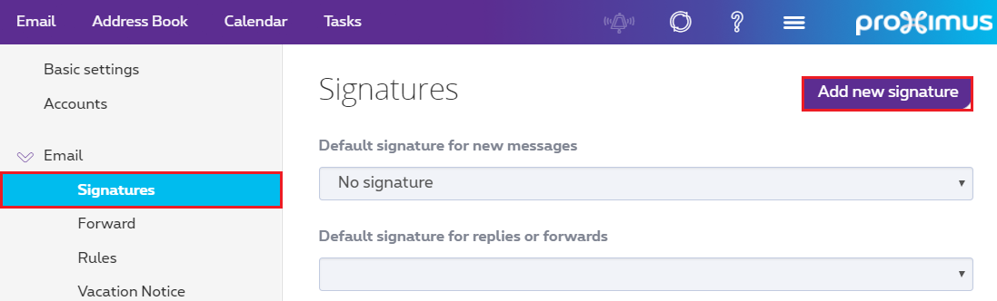 "Click ""Signatures"" from the E-mail drop-down menu, then click ""Add a new signature""."