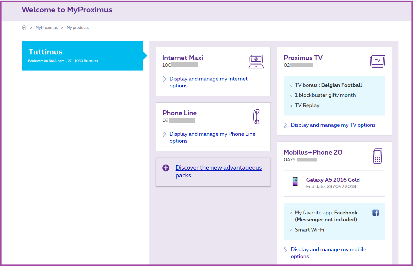 Example of what an administrator sees in MyProximus