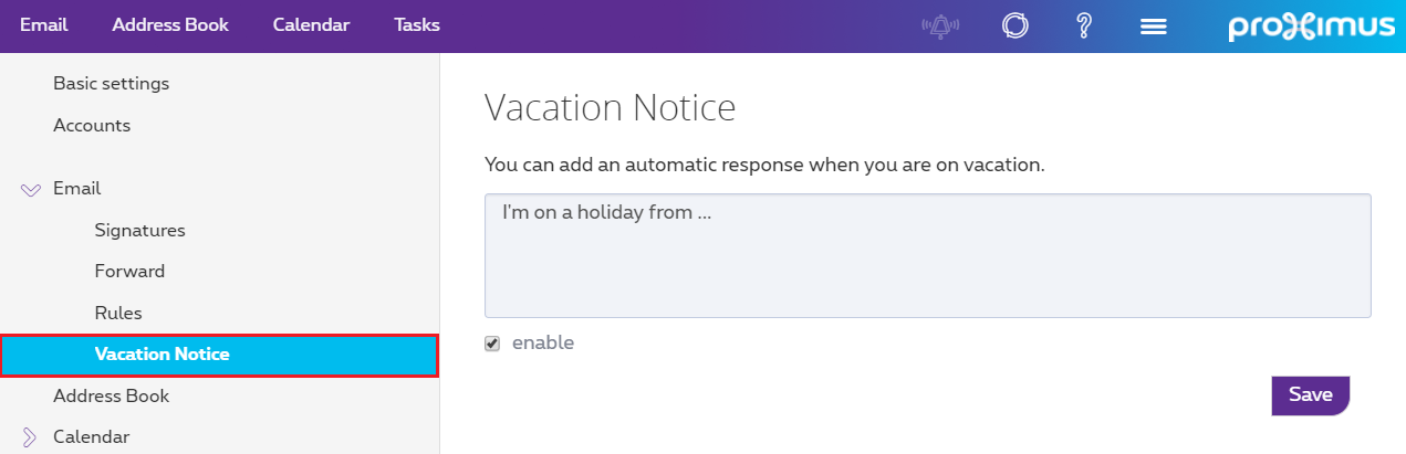 "Click ""Vacation notice"" from the Email drop-down menu."