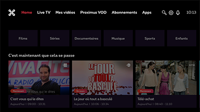 TV menu with white Proximus logo