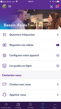 Contact 7/7 in MyProximus app for business