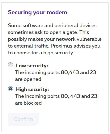 Open Internet ports | Proximus