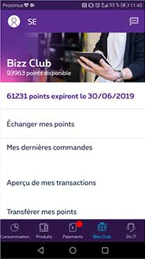Bizz Club in MyProximus app for business