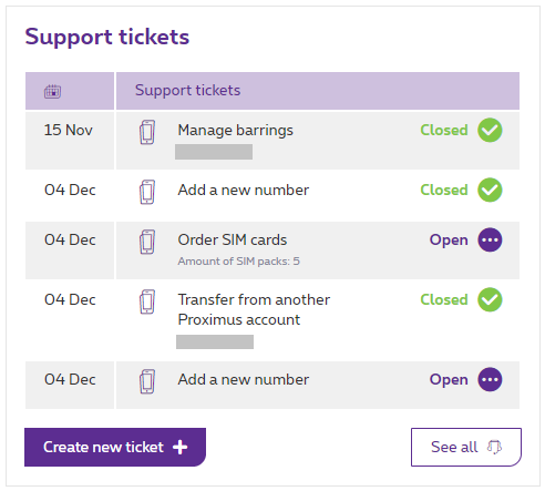 Overview of your support tickets in MyProximus.
