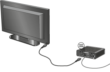TV connected to a decoder by an HDMI cable.