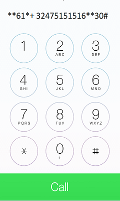 On your phone's call screen, type **61*+32475151516**30# and press the call key to extend the ring time to 30 seconds.
