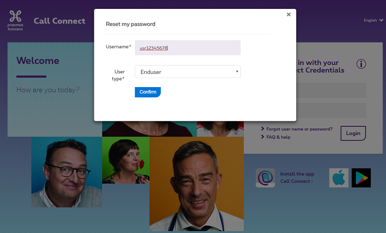Enter your username to reset your Call Connect password