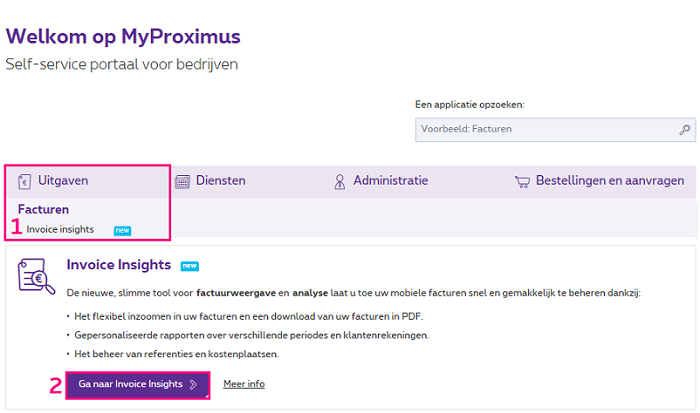 Invoice Insights op MyProximus