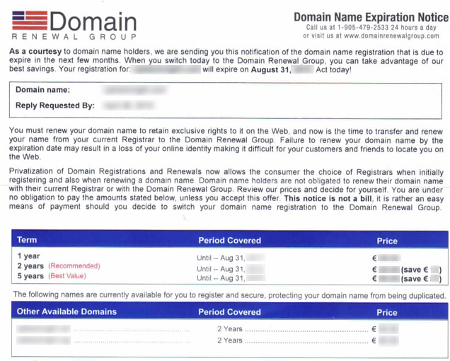 Example of a letter in domain name fraud