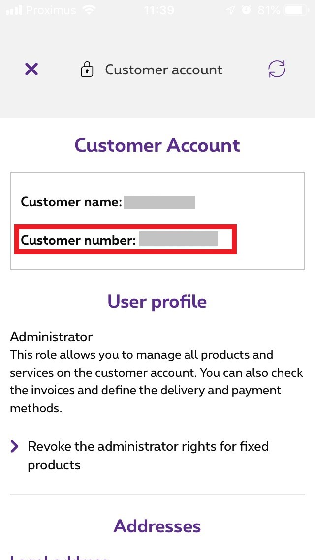 Example of Customer number in the MyProximus app
