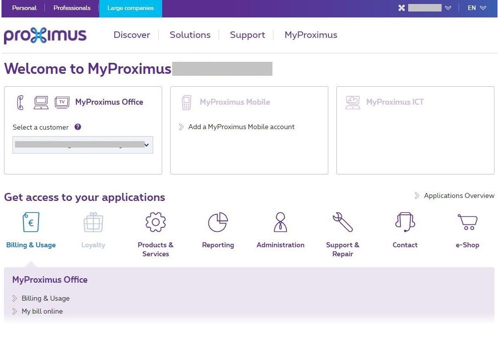 Example MyProximus for Delegate user