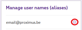 Press the 'X' icon to remove an alias.