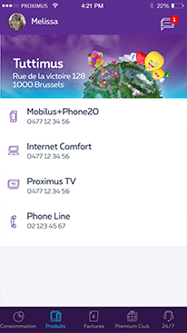 Products overview in MyProximus app