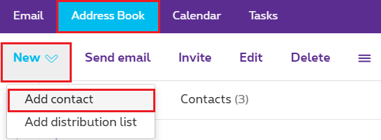 "Click ""Address Book"" > ""New"" > ""Add contact""."