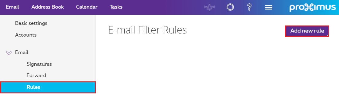 "Click ""Rules"" from the Email drop-down menu, then click ""Add new rule""."