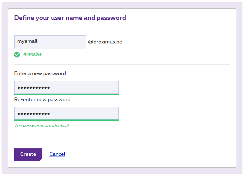 Choose an e-mail address and enter your password twice.