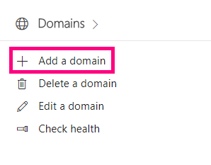 Click on Add a domain below Domains.