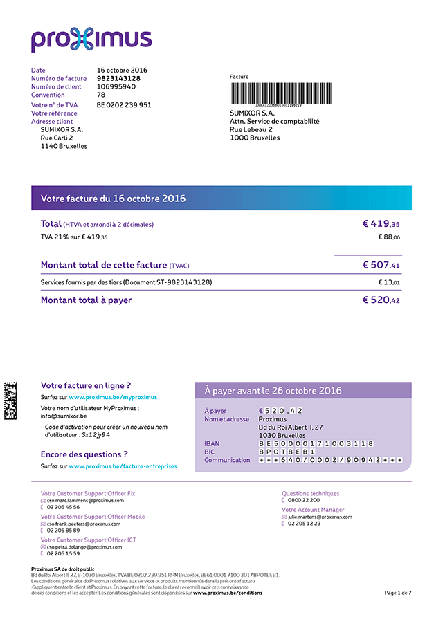 exemple facture belgacom