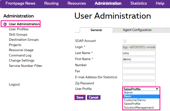 User Administration in Administration