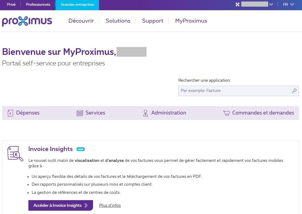 Exemple MyProximus pour Access Owner