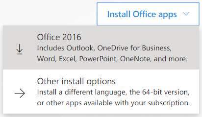 On the main page, click on Install Office Apps and select Office 2016.