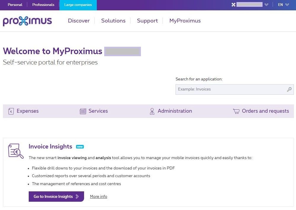 Example MyProximus for Access Owner