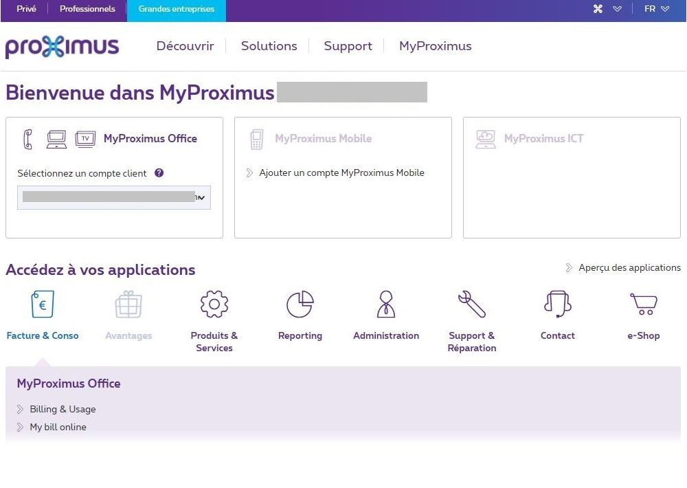 Exemple MyProximus pour Delegate user