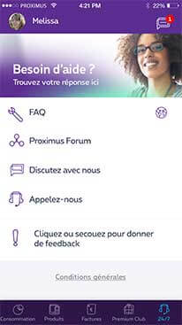 Contact 7j/7 dans l'app MyProximus
