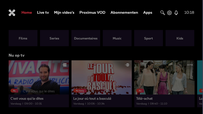 Tv-menu met wit Proximus-logo