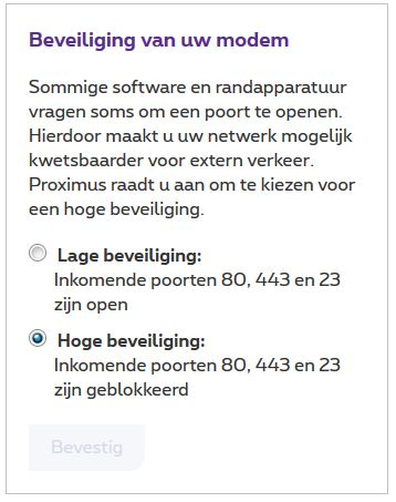 Log in om poorten 23, 80 en 443 te openen