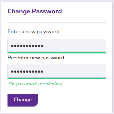 Choose a new password and confirm it.
