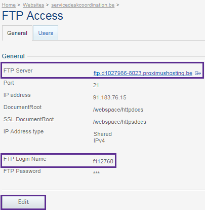General tab with FTP Server, Port and FTP Login Name