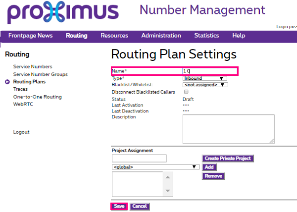 Routing Plan Settings