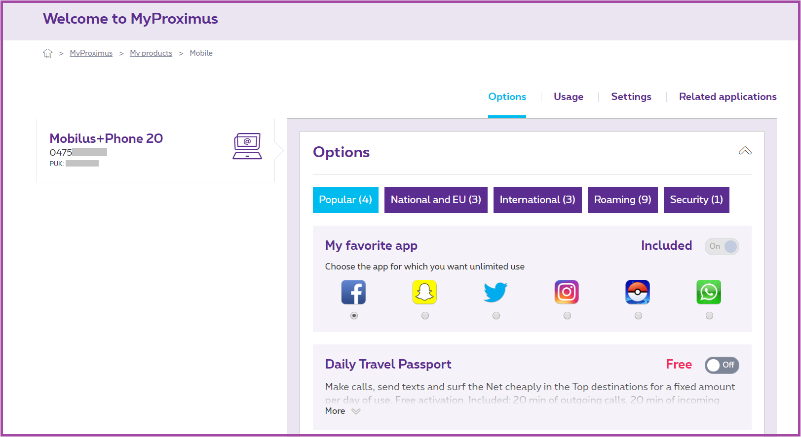 Example of what a user sees in MyProximus