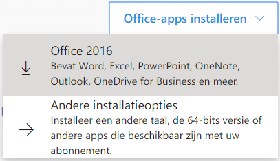 Klik op Office-apps installeren en dan op Office 2016.