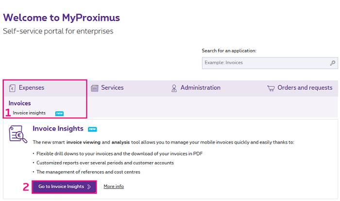 Invoice Insights on MyProximus