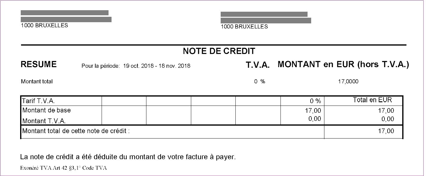 example d'une note de credit